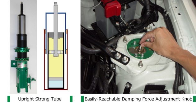 Easily-Reachable Damping Force Adjustment Knob